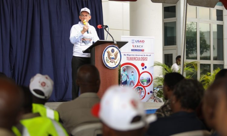 Deputy Chief of Mission David J. Young delivers remarks for the World TB Day 2018 Commemoration in Abuja. U.S. Embassy/Ola Aworinde Photo
