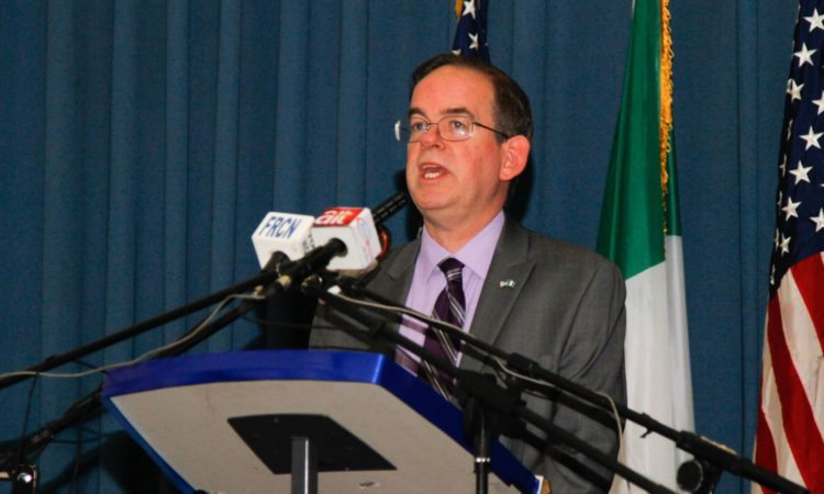 Deputy Chief of Mission David Young address the audience at the 2016 U.S. Elections Watch Night in Abuja. Photo Credit: U.S. Embassy/Ola Aworinde
