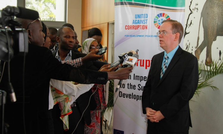 DCM, David Young field questions from the members of the press following his delivery of remarks on Anti Corruption Day. Photo Credit: U.S. Embassy/Ola Aworinde