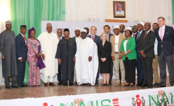 Group photo at the launch of the U.S.-Supported National AIDS Indicator and Impact Survey in Abuja.