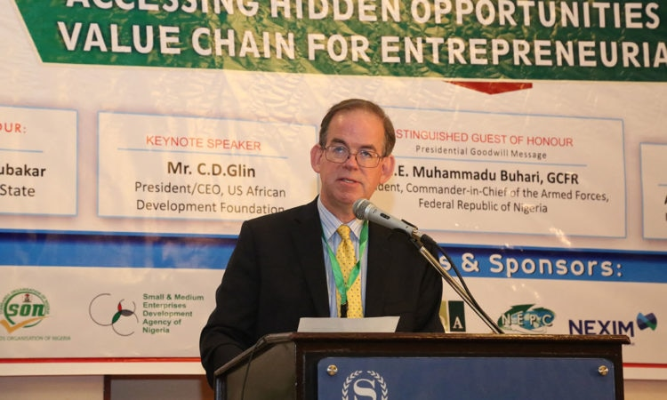 U.S. Embassy Deputy Chief of Mission, David Young speaking at the opening of the NACC-Kaduna SME Conference and Exhibition - Abuja, September 13, 2017