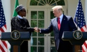 President Donald Trump and Nigerian President Muhammadu Buhari shake hands during for a news conference in the Rose Garden of the White House in Washington, Monday, April 30, 2018. (AP Photo/Susan Walsh)