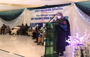 Ambassador Mary Beth Leonard speaking at the formal launch the Plateau State ART Surge program.