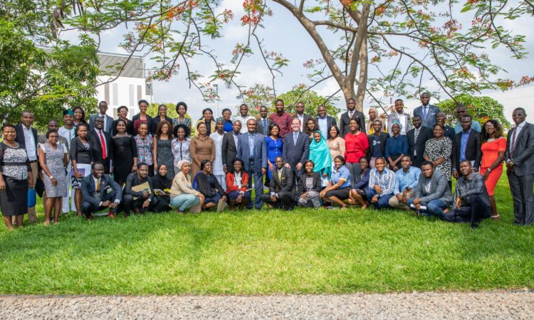 Chargé d'Affaires David Young and Counselor for Public Affairs Mr. Aruna Amirthanayagam with the 60 Young Nigerians to attend 2018 Mandela Washington Fellowship Program. Photo - Ola Aworinde/U.S. Embassy